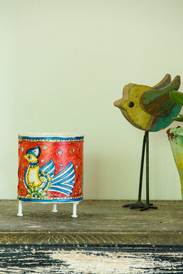 StudioMoya 'Bloom' Hand-painted On Leather Cylinder Tea Light
