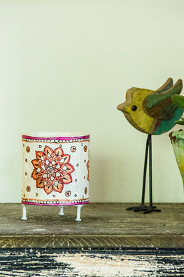 StudioMoya 'Marigold Bloom' Hand-painted On Leather Cylinder Tea Light