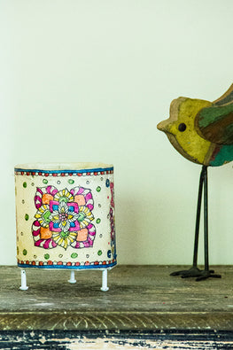 StudioMoya 'Floral Tholu' Hand-painted On Leather Cylinder Tea Light