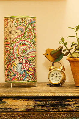 StudioMoya 'Doodle Floral' Hand-painted On Leather Small Cylinder Tabletop Lamp