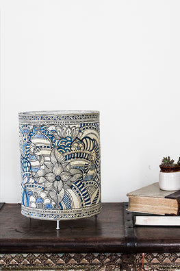 StudioMoya 'Doodle Jungle' Hand-painted On Leather Cylinder Big Tabletop Lamp