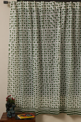 Sootisyahi 'Flowering Checks' Printed Voile Cotton Curtain