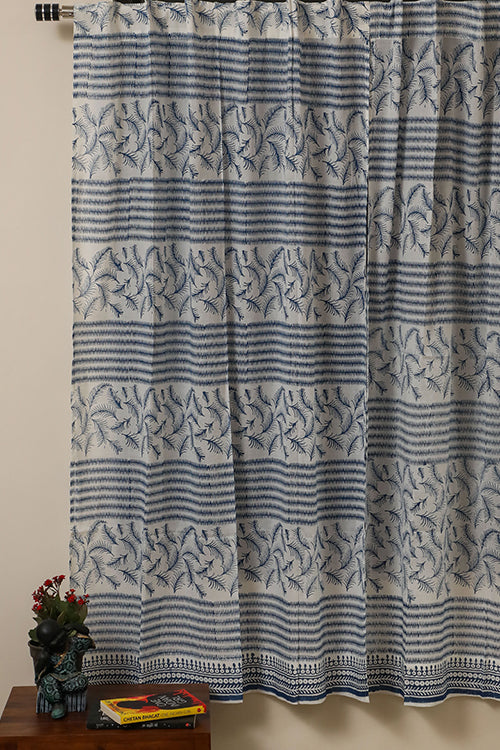 Sootisyahi 'Sky Weed' Handblock Printed Voile Cotton Curtain-59
