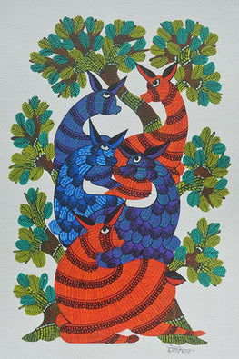 Chhoti Tekam Traditional Gond Painting on Paper-4