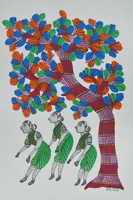 Chhoti Tekam Tribal Gond Painting on Paper-9