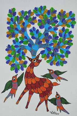 Chhoti Tekam Traditional Gond Painting on Paper-19
