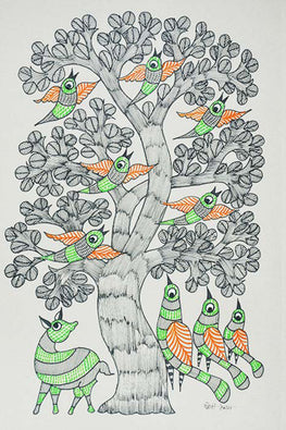Chhoti Tekam Traditional Gond Painting on Paper-34