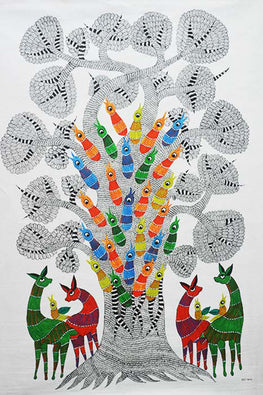 Chhoti Tekam Tribal Gond Painting on Canvas-39