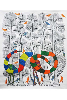 Chhoti Tekam Beautiful Gond Painting on Canvas