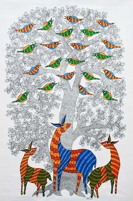 Chhoti Tekam Gond Art on Canvas-40