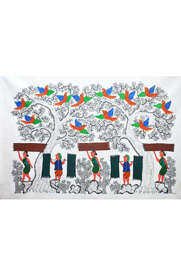 Chhoti Tekam Tribal Gond Painting on Canvas