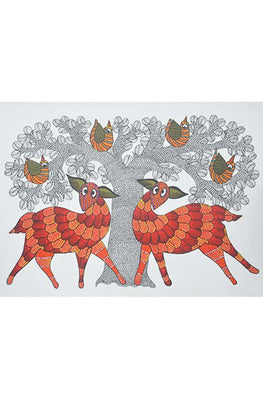 Chhoti Tekam Traditional Gond Painting on Paper-60