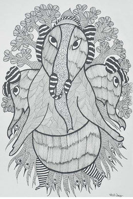 Chhoti Tekam Traditional Gond Painting on Paper
