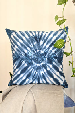 Okhai 'Blue Moon' Pure Cotton Tie-Dye Cushion Cover (40.5 cms x 40.5 cms)