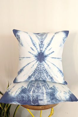 Okhai 'Arctic' Pure Cotton Tie-Dye Cushion Cover (45.7 cms x 45.7 cms)