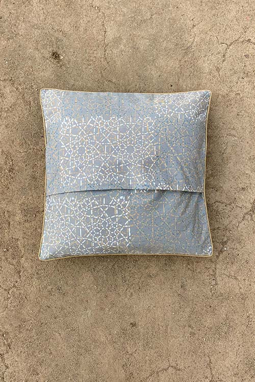 Shrujan 'Aks' 40cm X 40cm Earthen Toned Hand Embroidered Handloom Cotton Cushion Cover Pair