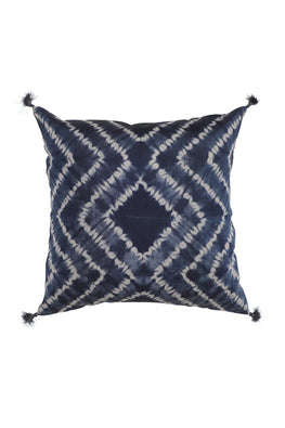 "Lal10 Cotton Shibori White and Indigo Base Cushion Cover 16"" x 16"""