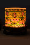 Studio Moya 'Madhubani Motifs' Channapatna-Leather Puppetry Large Tea Light Votive Set