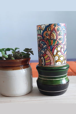 Studio Moya 'Tholu Doodle' Channapatna-Leather Puppetry Medium Tea Light Votive Set