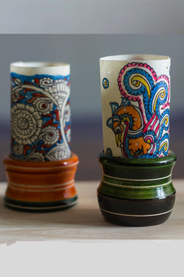 Studio Moya 'Tholu Peacock & Scroll' Channapatna-Leather Puppetry Medium Tea Light Votive Set