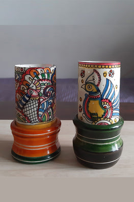 Studio Moya 'Tholu Peacock & Doodle' Channapatna-Leather Puppetry Medium Tea Light Votive Set