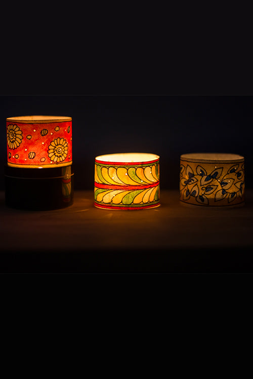 Studio Moya 'Floral Motifs' Channapatna-Leather Puppetry Small Tea Light Votive Set