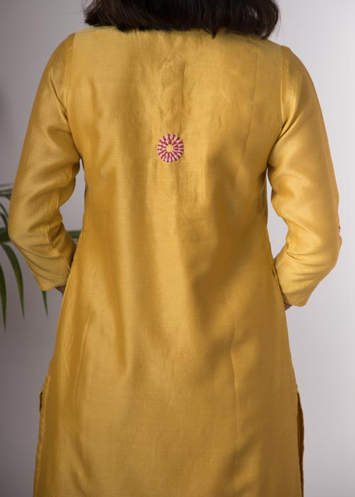Urmul 'Champa'Hand Embroidered Ochre chanderi kurta . 2pc set (kurta and dupatta)