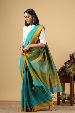 Chitirka Kuppadam Comet Buta Cotton Handloom Saree Green
