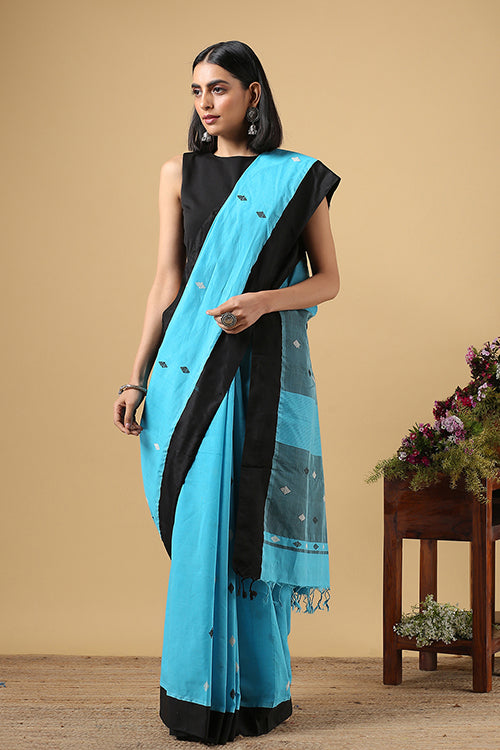 Chitrika Square Dot Buta Cotton Handloom Blue Kuppadam Saree Online