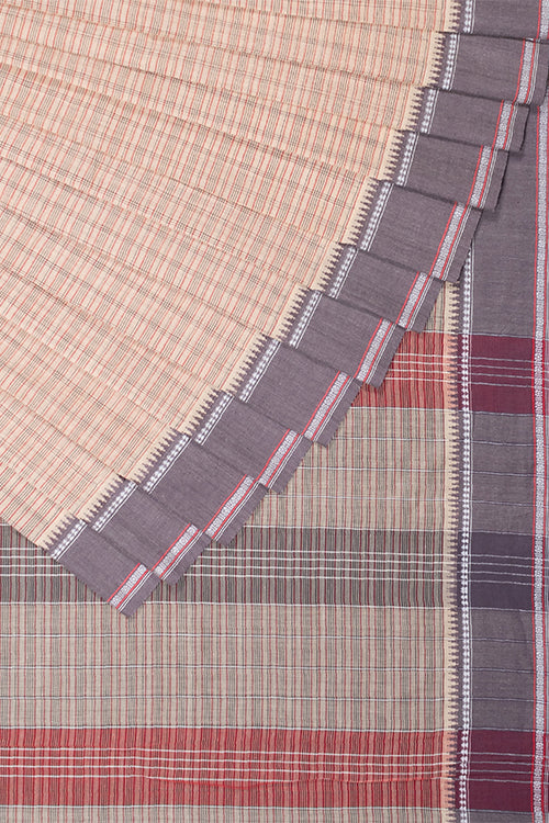 Chitrika Classic Mini Checks Cotton Handloom Saree Beige
