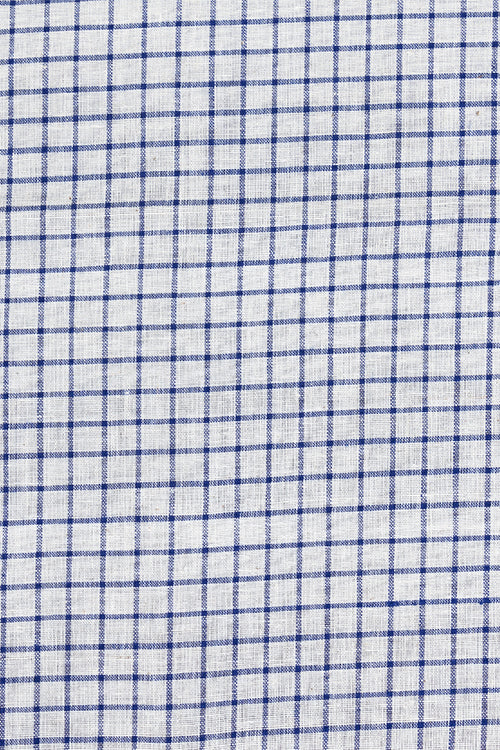 Chitrika-GCS Check Cotton And Handspun Handloom Fabric White,Blue