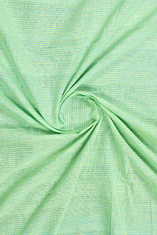 Chitrika-Gingam Check Cotton And Handspun Handloom Fabric Green