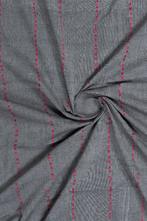 Chitrika-Dotted Line Dobby Cotton Handloom Fabric Grey