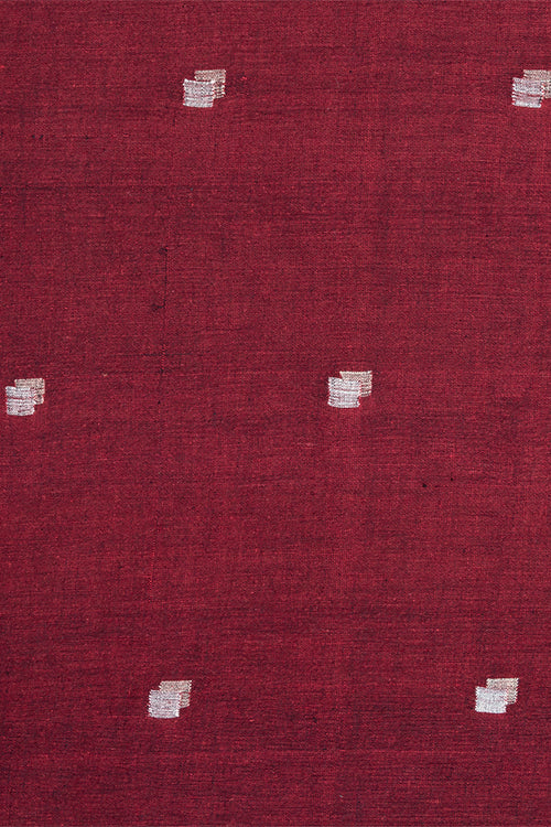 Chitrika Jamdhani 3D Square Cotton And Handspun Handloom Fabric Maroon