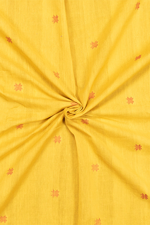 Chitrika Jamdhani Star Cotton And Handspun Handloom Fabric Turmeric Yellow