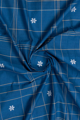 Chitrika-Jamdhani Fish Flora Cotton Handloom Fabric Blue