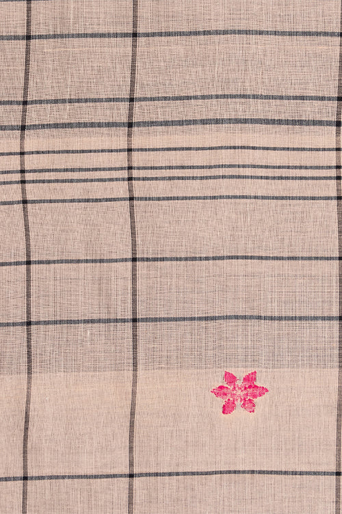 Chitrika-Jamdhani Fish Flora Cotton Handloom Fabric Cream