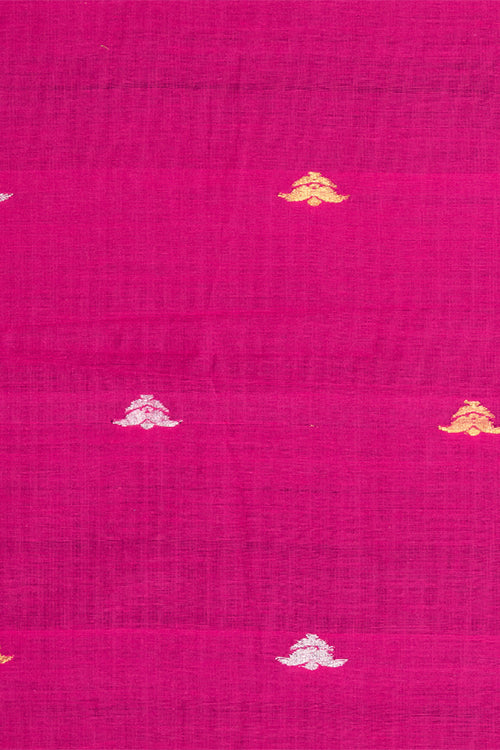Chitrika-Jamdhani Mughal Flower Cotton Handloom Fabric Pink