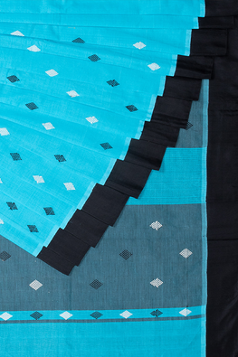 Chitrika Kuppadam Square Dot Buta Cotton Handloom Saree Blue