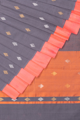 Chitrika Kuppadam Square Dot Buta Cotton Handloom Saree Grey