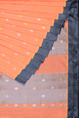 Chitrika Kuppadam Square Dot Buta Cotton Handloom Saree Orange