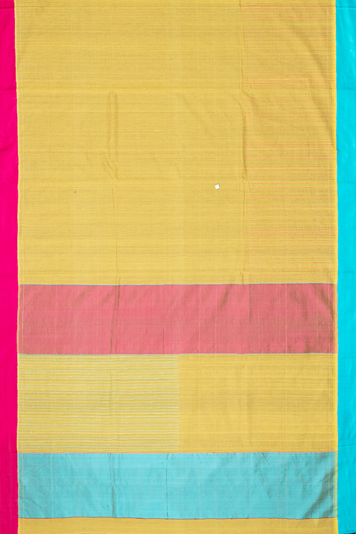 Chitrika Kuppadam Turned Weft Cotton Handloom Saree Mustard