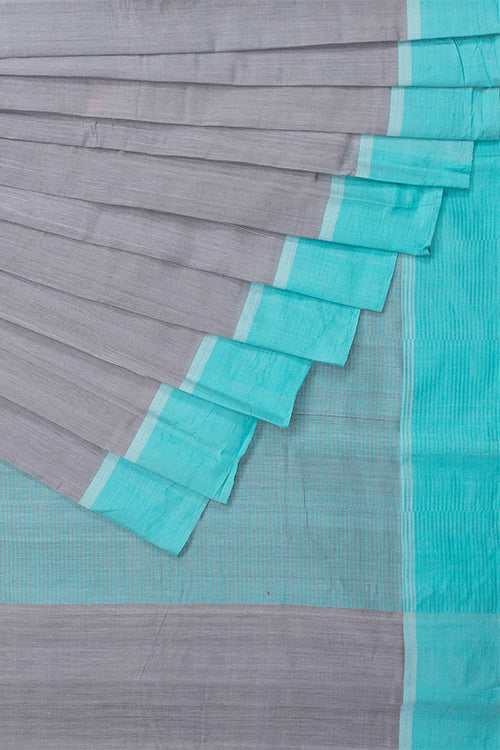 Chitrika Ballakammi Piano Cotton And Handspun Handloom Saree Grey Blue