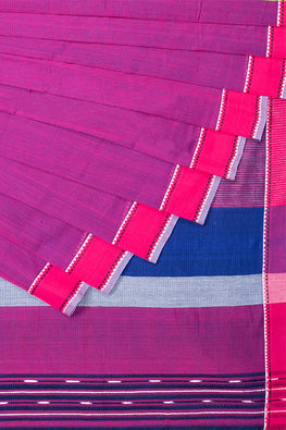Chitrika Triangle Row Dobby Magenta Cotton Handloom Saree Online