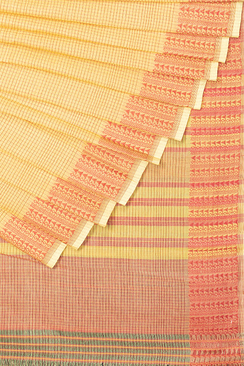 Chitrika Tribal Buta Yellow and Maroon Cotton Handloom Saree Online