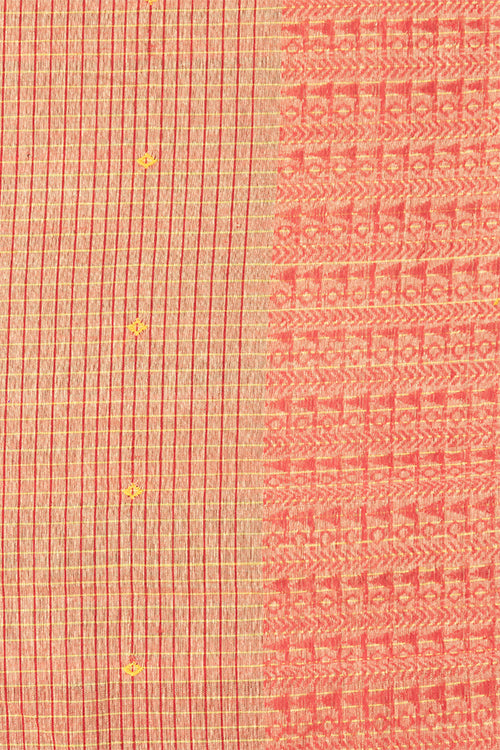 Chitrika Tribal Buta Cotton Handloom Saree Yellow, Maroon