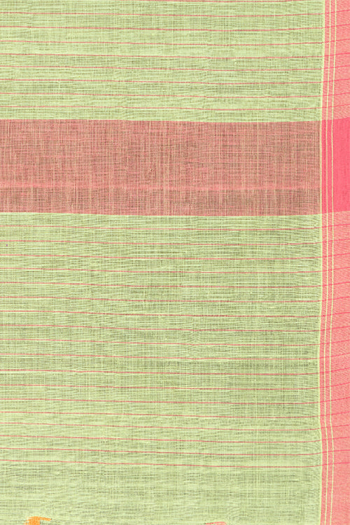 Chitrika Jamdani Square Line Cotton And Handspun Handloom Saree Green