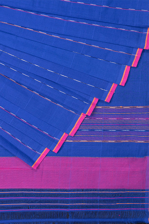 Chitrika Hank Art Dark Blue Plain Cotton Handloom Saree Online