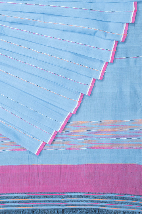 Chitrika Hank Art Light Blue Plain Cotton Handloom Saree Online