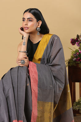 Chitrika 4 Square Buta Cotton Handloom Grey Kuppadam Saree Online